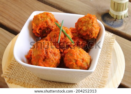 Meatballs tapa in tomato sauce - stock photo