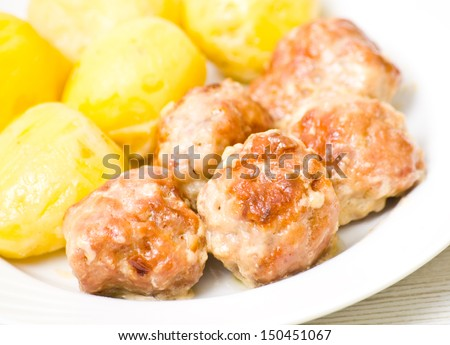 meatballs with potato - stock photo