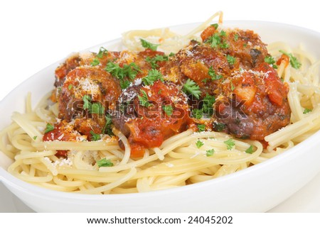 Meatballs with spaghetti. - stock photo