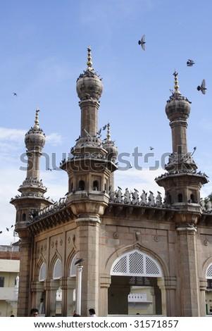 mecca masjid, hyderabad, Famous manument - stock photo