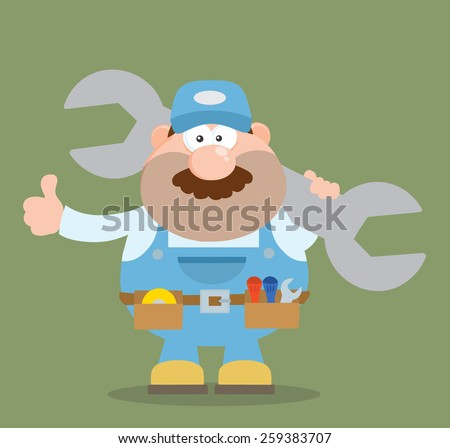 Mechanic Cartoon Character Holding Huge Wrench And Giving A Thumb Up Flat Syle. Raster Illustration - stock photo