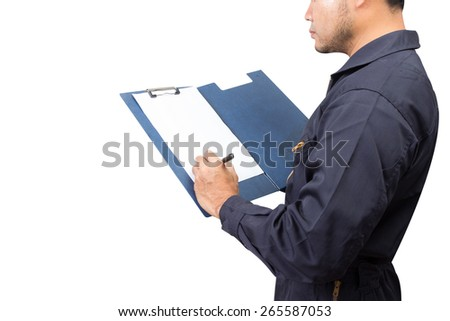 mechanic holding a clipboard of service order isolated on white background with clipping path