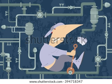 Mechanic Illustration. Comic mechanic hardly tightens the bolt and repairs pipe construction  - stock photo