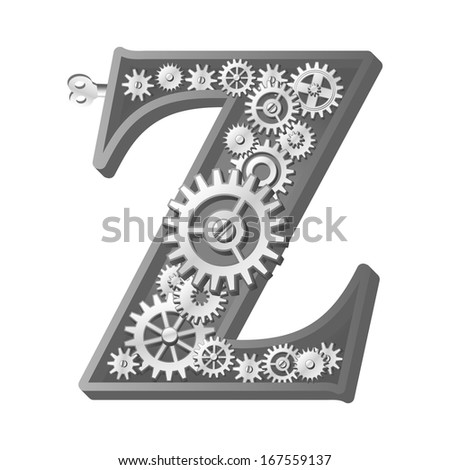 Mechanical alphabet made from gears. Letter z - stock photo