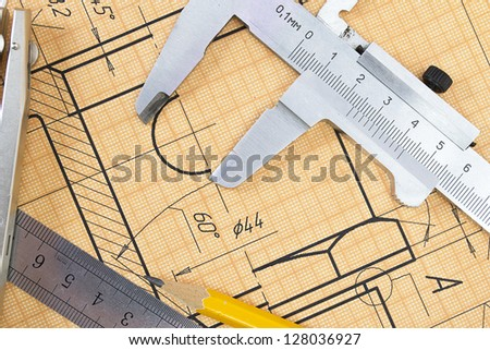 Mechanical circuit, a ruler, compass, calipers. - stock photo