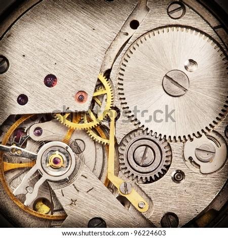 Mechanical clockwork. Close up shot. - stock photo