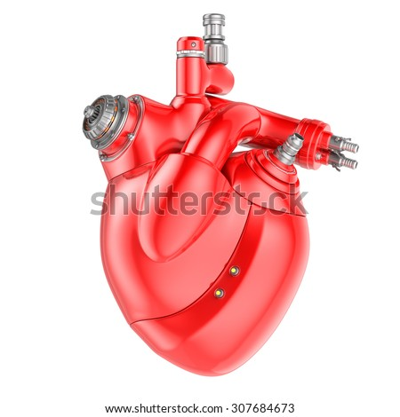 Mechanical Heart on a white background. Clipping path included - stock photo