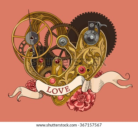 Mechanical human heart with LOVE lettering on a ribbon. - stock photo