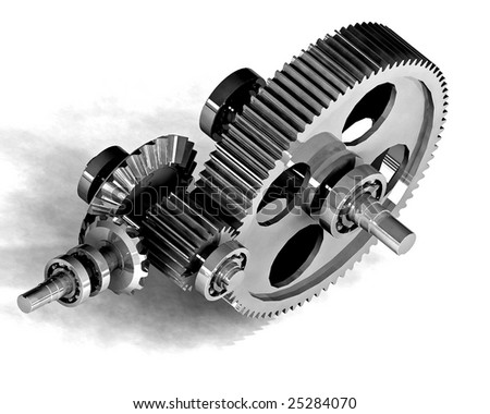 mechanical metal gear - stock photo