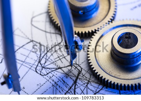 Mechanical ratchets, dividers and drafting - stock photo