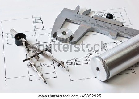 mechanical scheme and calipers with details - stock photo