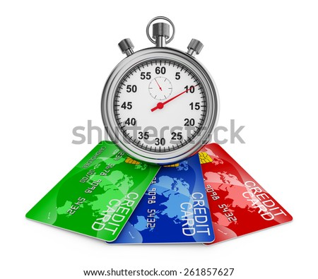Mechanical stopwatch and three colored credit cards - stock photo