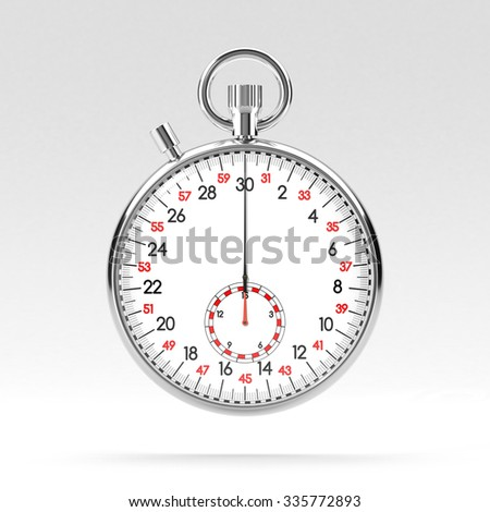 Mechanical stopwatch illustration. Retro classic style clock on grey background. Metallic chronometer with white face and black and red numbers. Time is money, deadline, accuracy concept. - stock photo