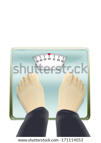 Mechanical Weighing scale illustration. Isolated on white background - stock photo