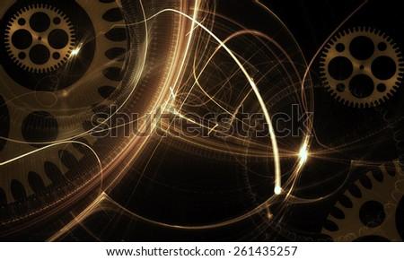 Mechanism, Ancient Golden  Cogwheel  - golden old clock mechanism, ancient metallic cogwheel on black background, abstract illustration - stock photo