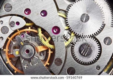 mechanism gear of vintage clock - stock photo
