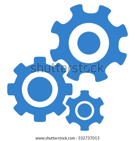Mechanism glyph icon. Style is flat symbol, cobalt color, rounded angles, white background. - stock photo