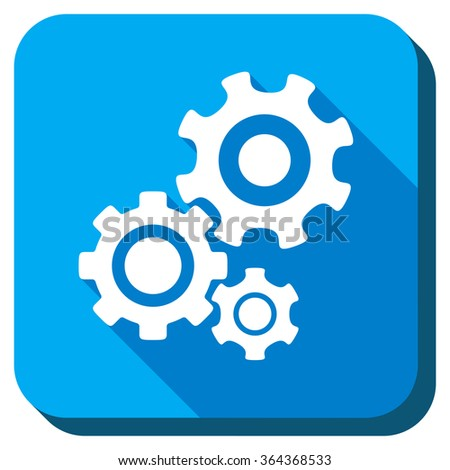 Mechanism glyph icon. Style is rounded square light blue button with long shadows. Symbol color is white. - stock photo
