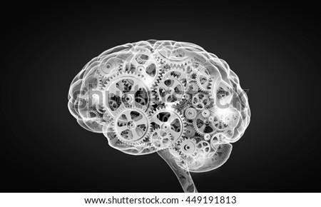Mechanism inside human brain . Mixed media - stock photo