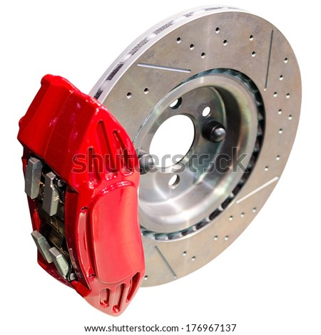 Mechanism of automobile disc brakes: assembled caliper with disk and pads isolated - stock photo
