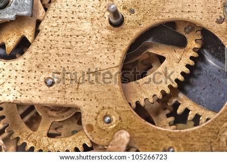 Mechanism of the old alarm clock. Photo closeup, selective focus - stock photo