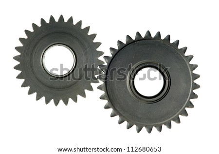 mechanism with cog-wheels on white background - stock photo