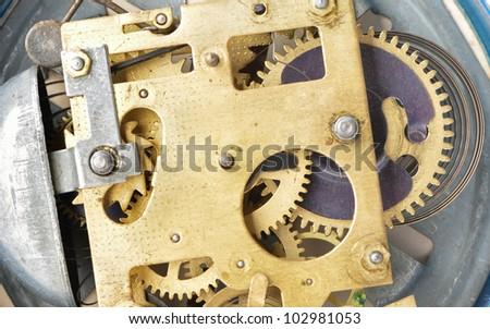 Mechanismthe old alarm clock. Photo closeup, selective focus - stock photo