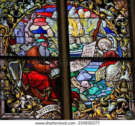 MECHELEN, BELGIUM - JANUARY 31, 2015: Stained Glass window depicting the Prophet Jeremiah in the Cathedral of Saint Rumbold in Mechelen, Belgium. - stock photo