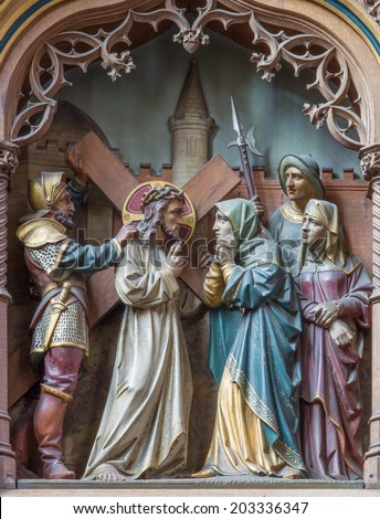 MECHELEN, BELGIUM - JUNE 14, 2014: Carved statues of scene Jesus meet his mother on new gothic side altar of church Our Lady across de Dyle.  - stock photo