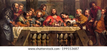 MECHELEN, BELGIUM - JUNE 14, 2014: The Last Supper painted by Jan Erasmus Quellinus (1634-1715) in church Our Lady across de Dyle. - stock photo