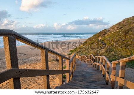 Meco beach entrance in Portugal - stock photo