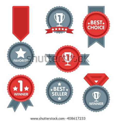 Medal and winner icon set. Blank Label of Flat Style. First place, flag, star. - stock photo