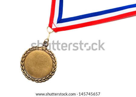 Medal on a red, white and blue ribbon - stock photo