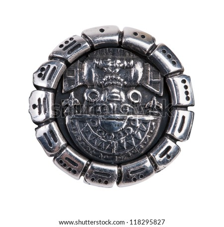 Medallion as a symbol of Maya on a white background - stock photo
