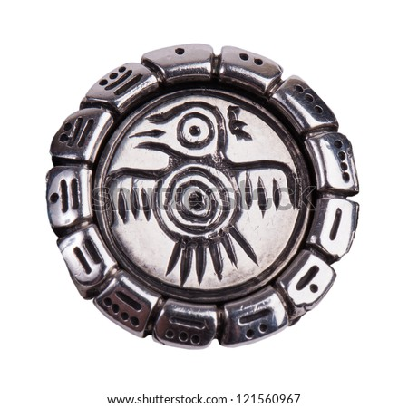 Medallion with a bird from the Mayan calendar - stock photo