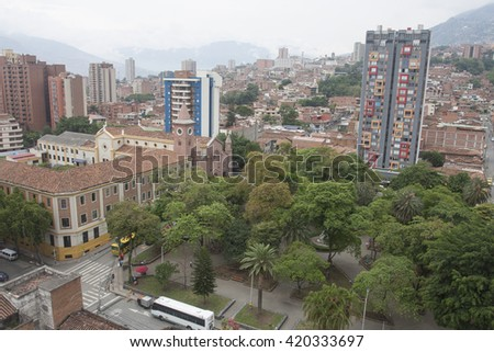 Medellin, Colombia - April 28, 2016. View of downtown Boston Park City. - stock photo