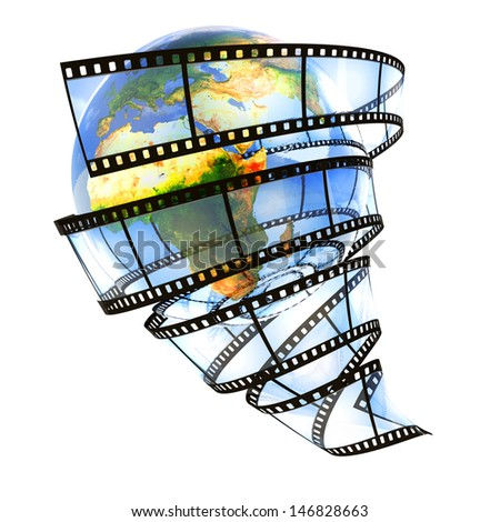 Media around the Earth. Elements of this image furnished by NASA. - stock photo
