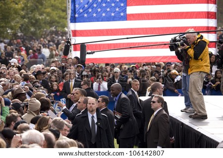 Media covers US Senator Barack Obama as he shakes hands at early vote for change Presidential rally, October 29, 2008 at Halifax Mall, Government Complex in Raleigh, NC - stock photo