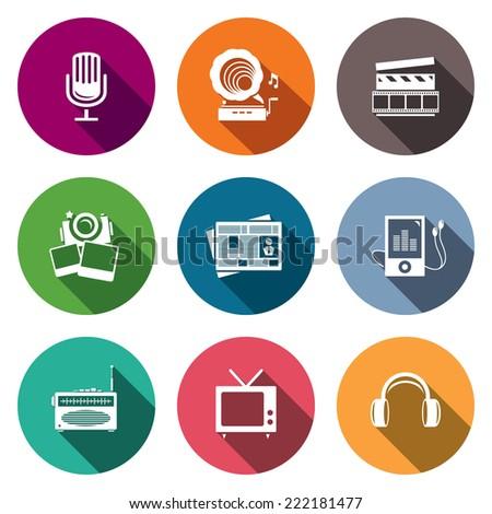 Media flat icon set - video, news, music, TV, recording, photo  - stock photo