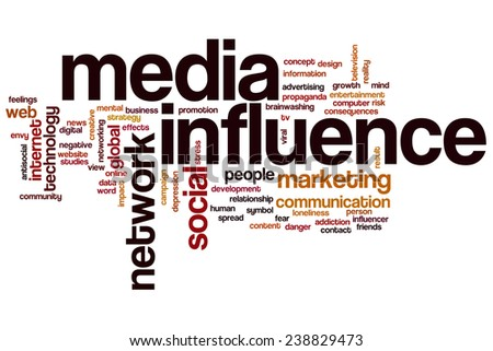 Media influence word cloud concept with marketing network related tags - stock photo