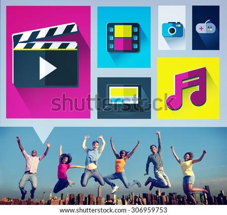 Media Internet Multimedia Sharing Networking Social Concept - stock photo
