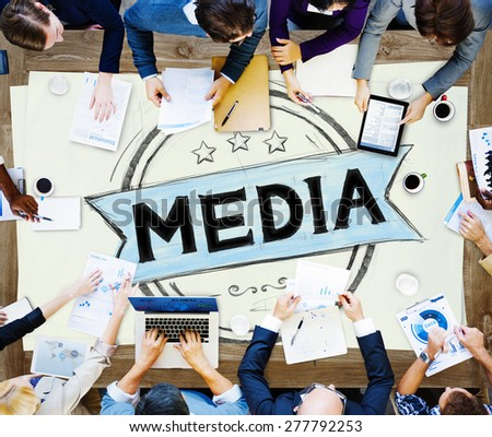 Media Journalism Multimedia Communication Internet Concept - stock photo