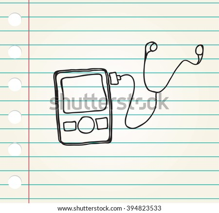 Media player Doodle style on paper - stock photo