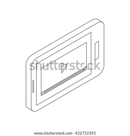 Media player on a phone icon, isometric 3d style - stock photo