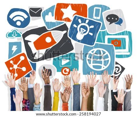 Media Social Media Social Network Internet Technology Online Concept - stock photo