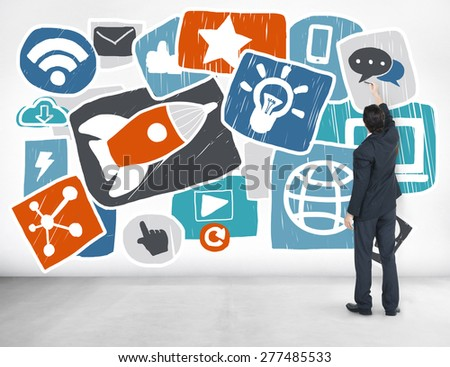 Media Social Media Social Network Internet Technology Online Concept - stock photo