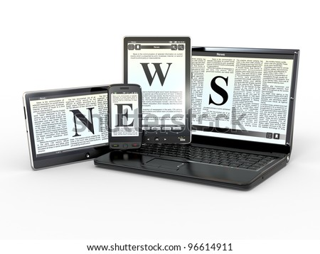 Media. Text NEWS on screen of laptop, tablet, pc and phone. 3d - stock photo