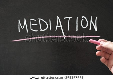 Mediation word written on the blackboard using chalk - stock photo