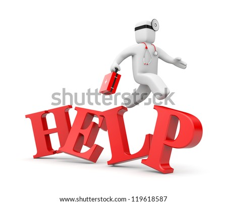 Medic hastens to the aid - stock photo