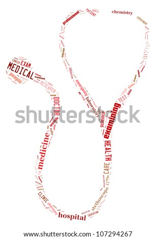 Medic info-text graphics composed in stetoskop shape concept (word clouds) on white background - stock photo